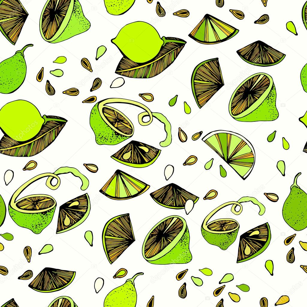 Seamless pattern with bright colorful image of limes on a white background.