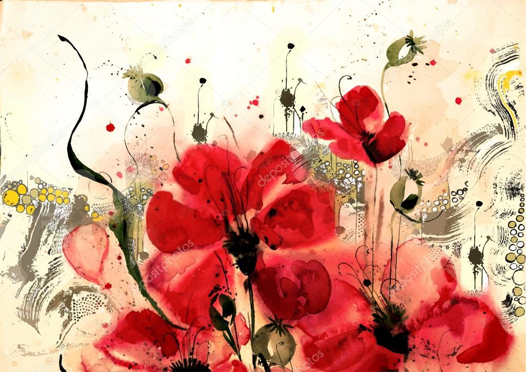 Watercolor illustrations of poppies