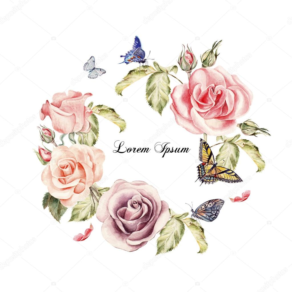Beautiful watercolor card with roses flowers. Butterflies and plants.