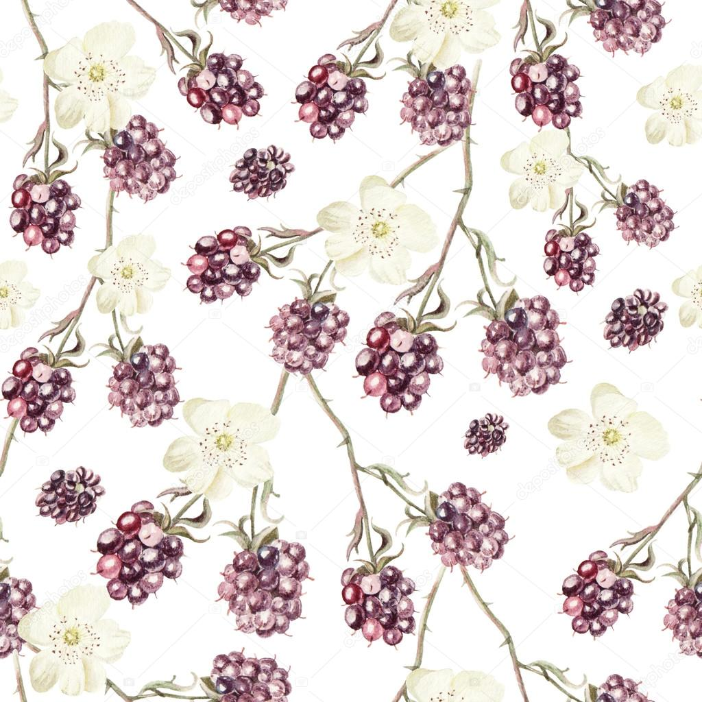 Water color pattern with blackberries and flowers.