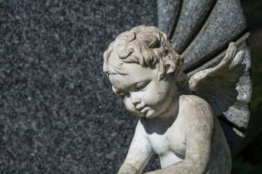 Weathered putto or child angel statue as a grave stone on a cemetery stock vector
