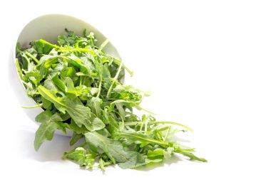 rocket salad leaves, rucola or arugula, falling from a ceramic b