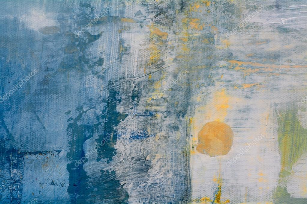 abstract original painting on canvas, golden ball in blue