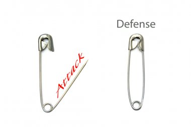 safety pins, open and closed with text attack - defense, isolate