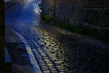 street with wet cobblestones at night in an old town