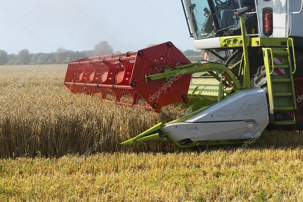 part of a combine harvester working on a wheat field