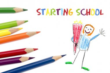 colored pencils isolated on white, child's drawing and text  sta