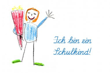 starting school with child's drawing and german text  Ich bin ei