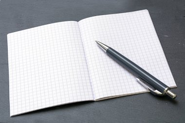 ballpoint pens and a blank notebook with graph paper
