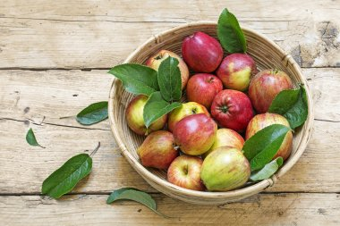 apples and leaves in a basket on a rustic wooden table
