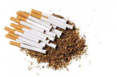 cigarettes on a heap of loose tobacco, view from above, isolate