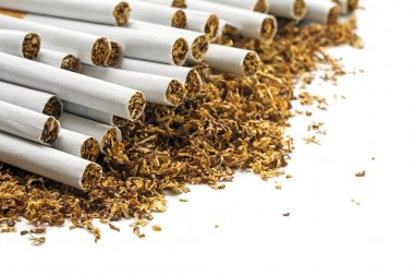 Cigarettes  on a heap of loose tobacco, corner background on whi