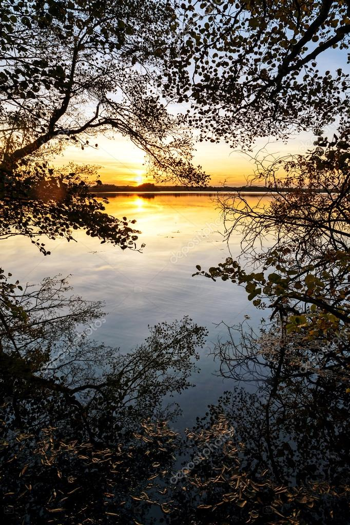 Sunset at the lake, view from the forest edge with reflections a