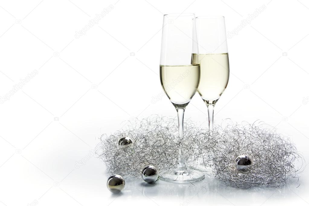 Dos Flautas Copas De Champagne Para Año Nuevo Y La