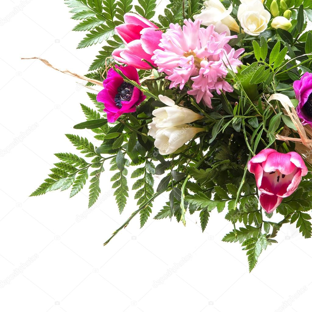 bouquet of spring flowers isolated on white, corner background ...
