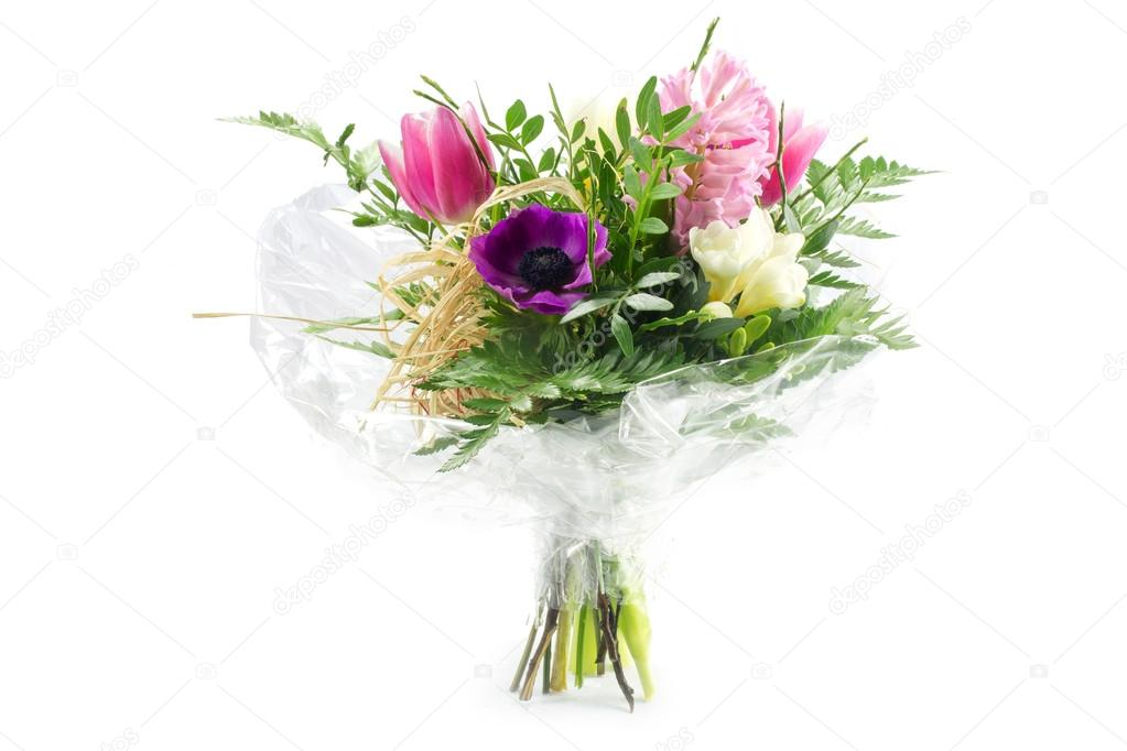 Bouquet In Cellophane With Pink Purple Flowers Isolated On