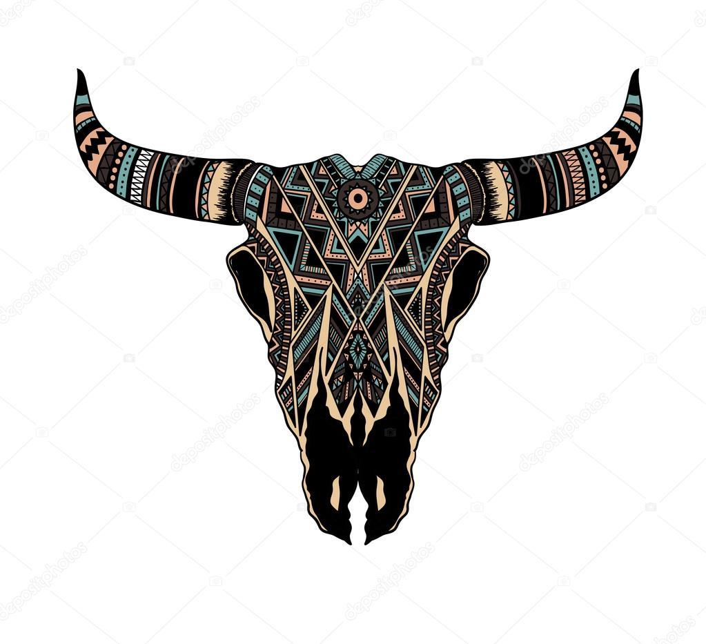 Crane De Bison A Vendre totem amérindien de crâne buffalo — image vectorielle k_ssss