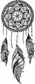 Fényképek Kézzel rajzolt mandala Álomfogó tollakkal. Etnikai illusztráció, törzsi, amerikai indiánok tradicionális szimbólum