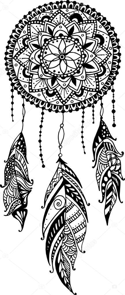 depositphotos_87342588 stock illustration hand drawn mandala dreamcatcher with