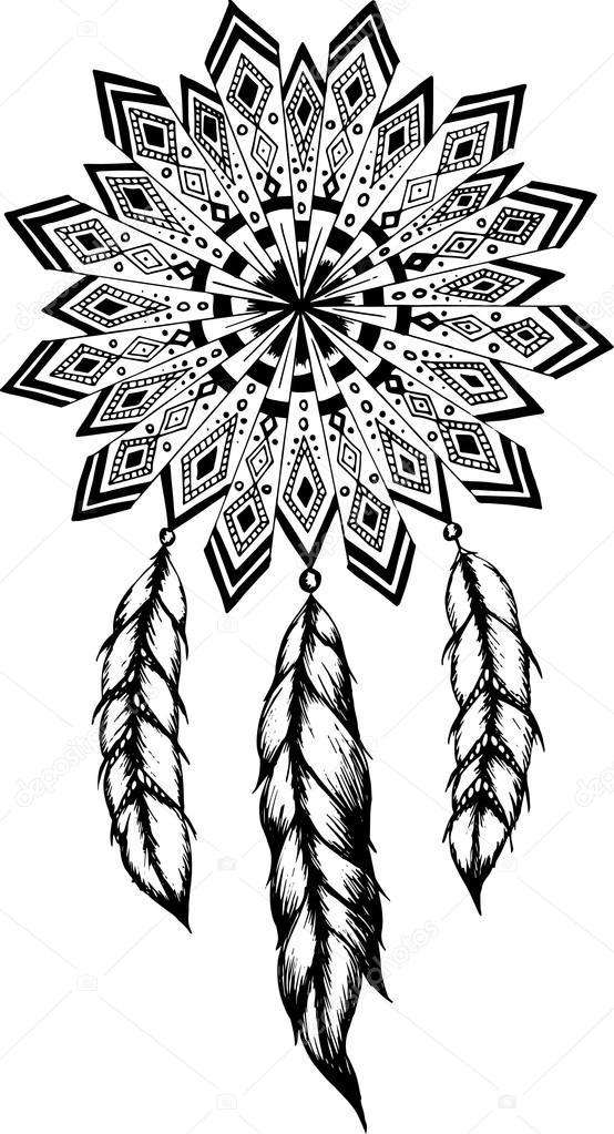 Mandala disegnati a mano con piume illustrazione di for Acchiappasogni disegno