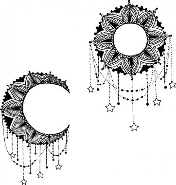 Hand-drawn moon sun mandala dreamcatcher with feathers. Ethnic illustration, tribal, American Indians traditional symbol.