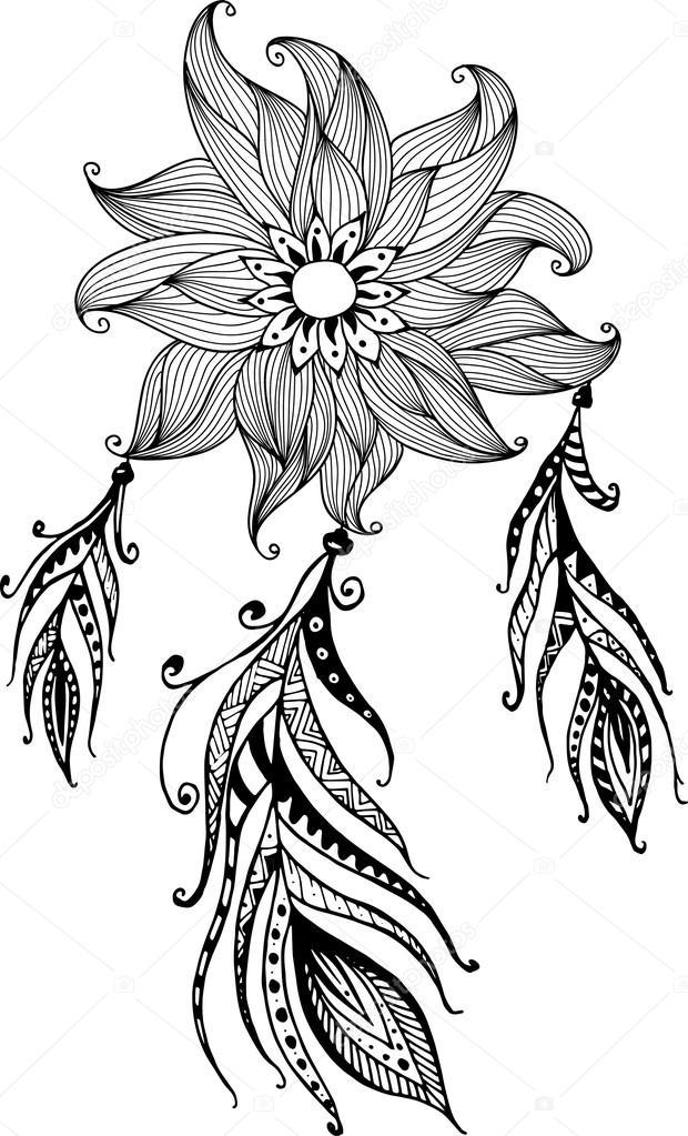 Dibujado A Mano Rflower Atrapasue 241 Os Con Plumas