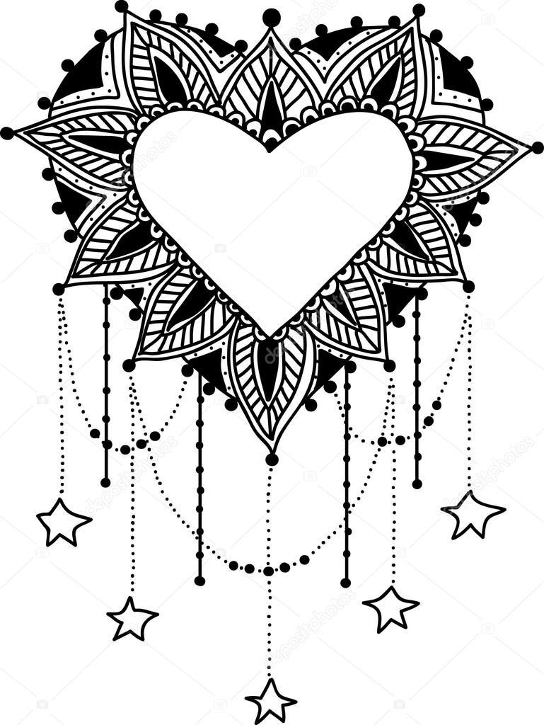 Mandala de coeur noir et blanc illustration vectorielle — Image ...