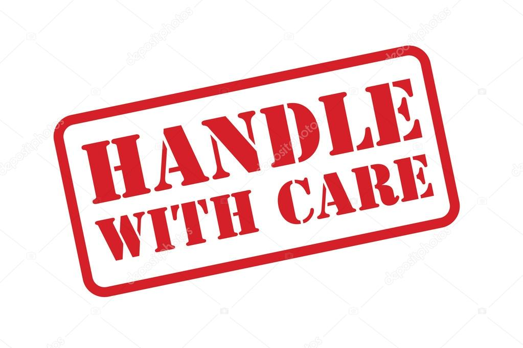 HANDLE WITH CARE rubber stamp vector over a white background.