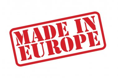 MADE IN EUROPE Rubber Stamp vector over a white background.