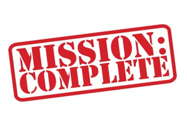 MISSION : COMPLETE Red Rubber Stamp vector over a white background.