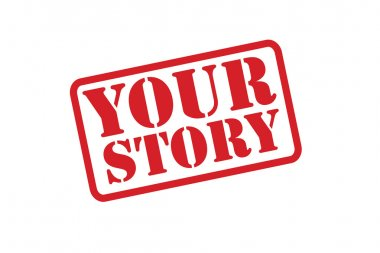 YOUR STORY Rubber Stamp vector over a white background.