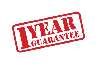 1 YEAR GUARANTEE Rubber Stamp vector over a white background.