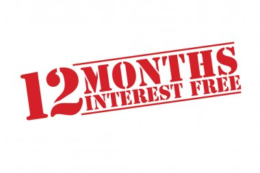 12 MONTHS INTEREST FREE Rubber Stamp vector over a white background.
