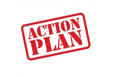 ACTION PLAN red Rubber Stamp vector over a white background.