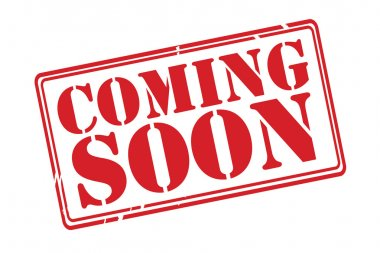 COMING SOON red rubber stamp vector over a white background.