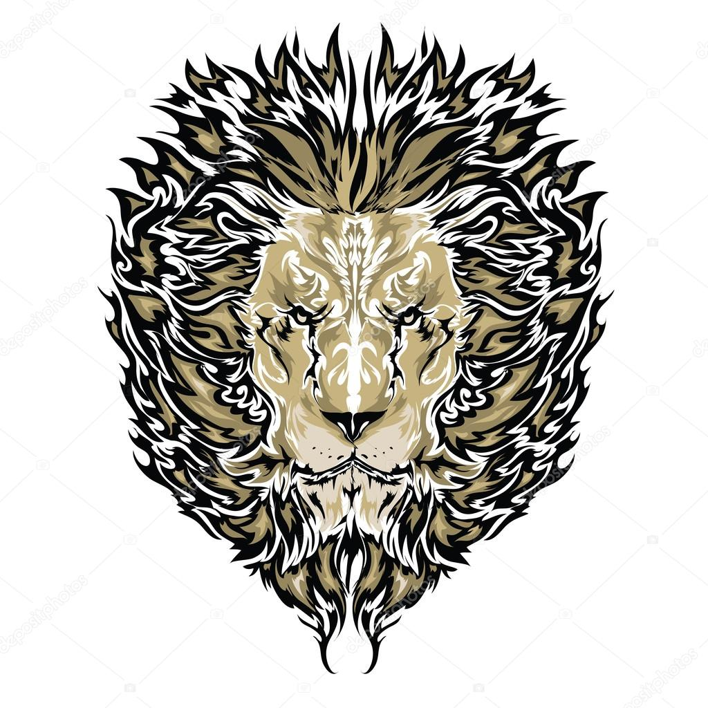 Tattoo vector sketch of a lion's face white background