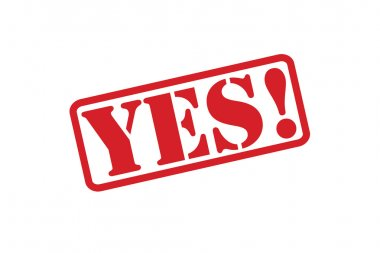 YES! red rubber stamp vector over a white background.