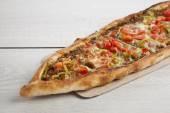 Photo Turkish pide beef and cheese pita