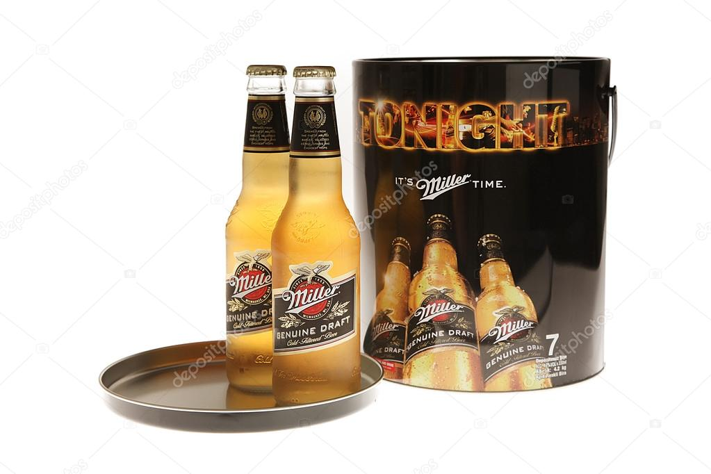 Istanbul, Turkey - January 14, 2015: Isolated studio shot of the Miller beers and metal package
