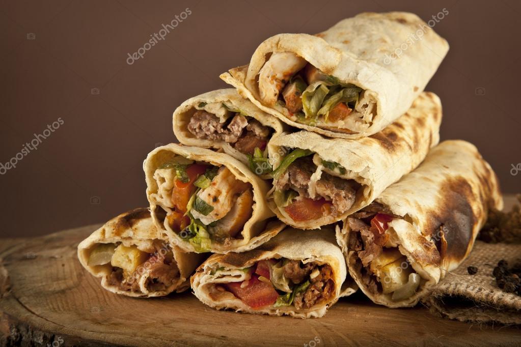 Turkish Shawarma Durum Traditional Sish Kebab Wrap Stock Photo Image By C Gorkemdemir 63922195