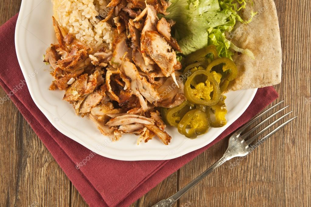 Delicious Turkish Chicken Doner Kebab Grilled Meat Stock Photo