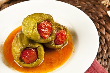 Traditional ramadan food turkish pepper dolma