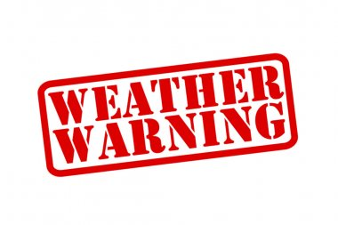 WEATHER WARNING red Rubber Stamp vector over a white background.