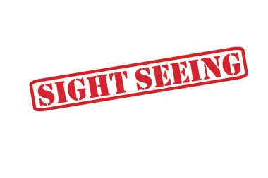 SIGHT SEEING red Rubber Stamp vector over a white background.