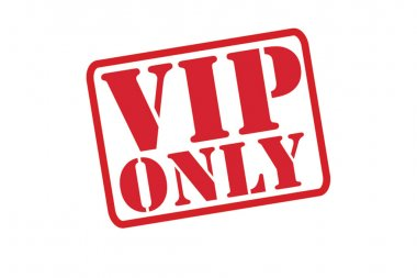 VIP ONLY red Rubber Stamp vector over a white background.