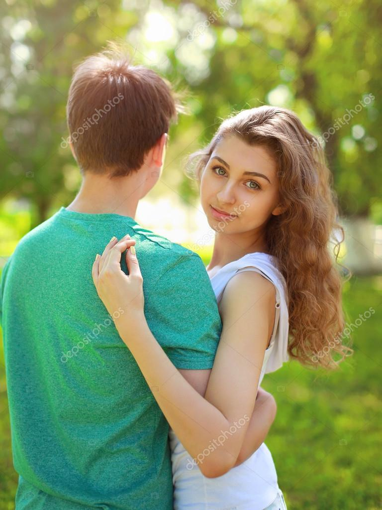 Summer Portrait Young Charming Girl And Boyfriend, Cute