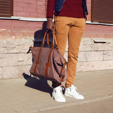 Fashion male look. Detail of trendy clothes stylish young handso