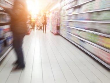 Interior of supermarket shelves