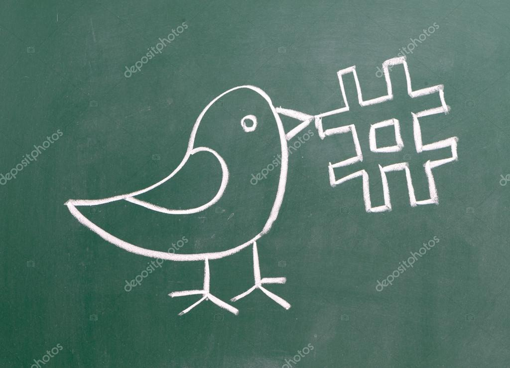 Drawing of a bird holding a twitter hashtag for social media tag