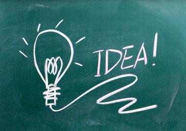 Idea sign on blackboard